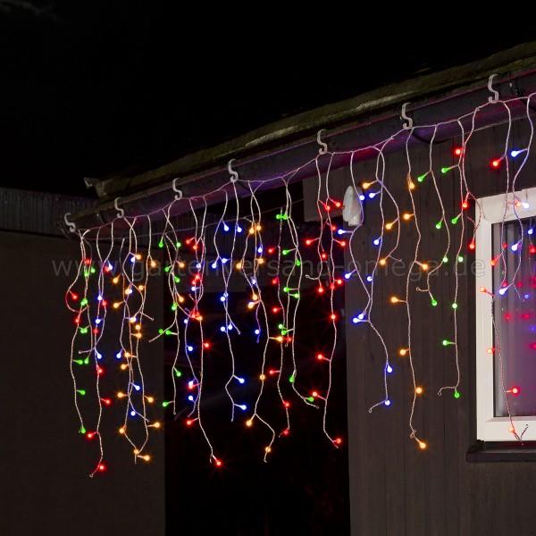 LED Eisregen-Lichtervorhang mit Globes Bunt