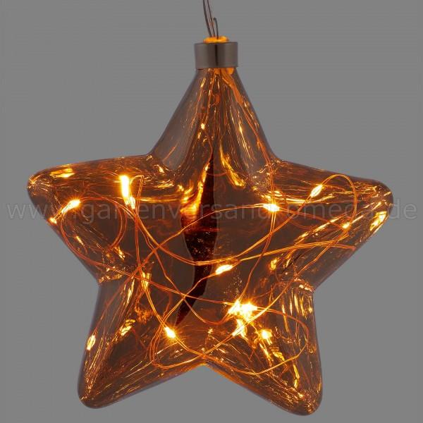 Glas-Stern mit LED-Lichterkette - Weihnachtsstern beleuchtet