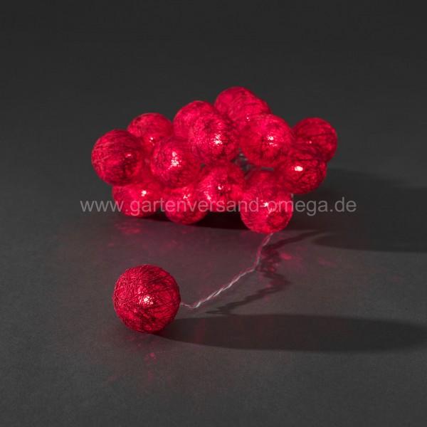LED-Dekolichterkette rote Baumwollkugeln