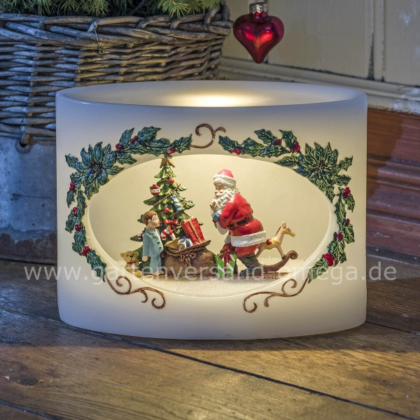 LED-Motivkerze Weihnachtsmann mit Kind