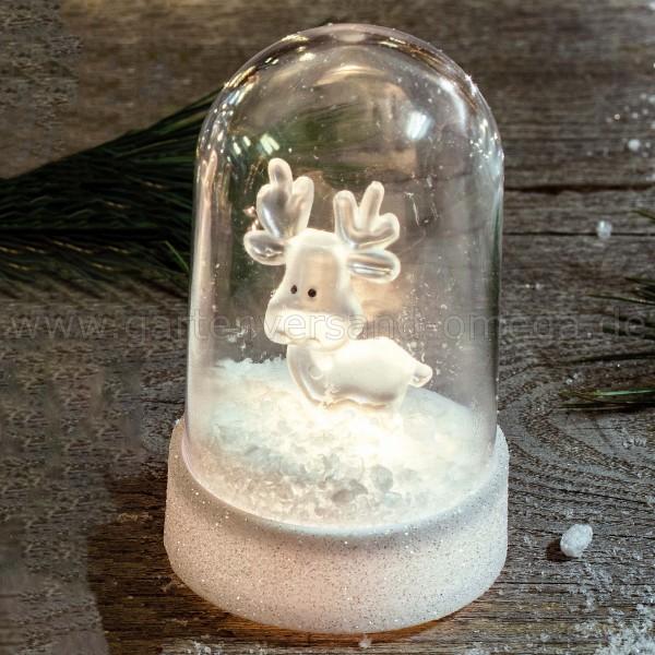 LED-Glocke mit Acryl-Rentier - beleuchtete Weihnachtsdekoration
