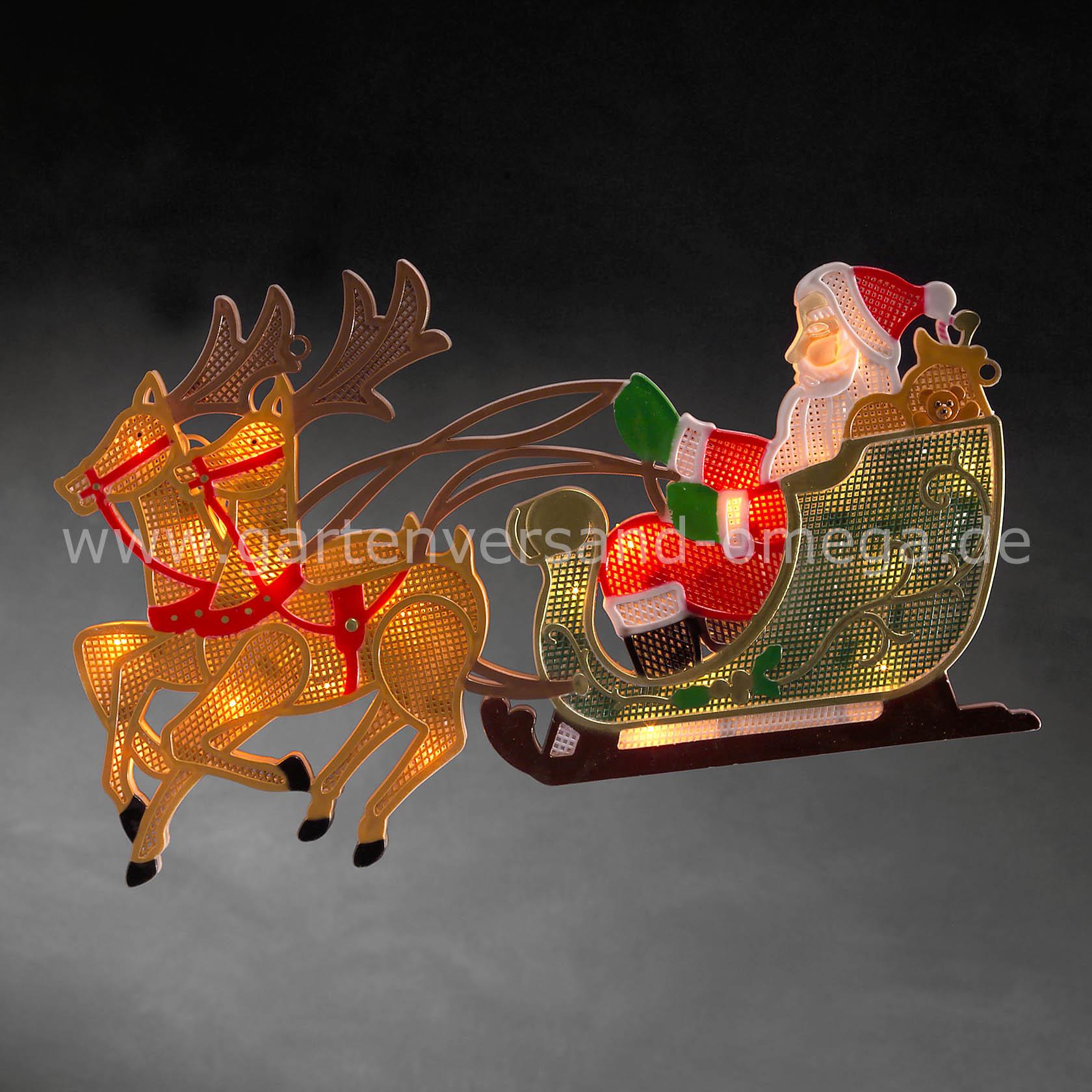 Led fensterbild rentier mit weihnachtsmann und schlitten fensterdekoration fensterbeleuchtung - Fensterbeleuchtung innen ...