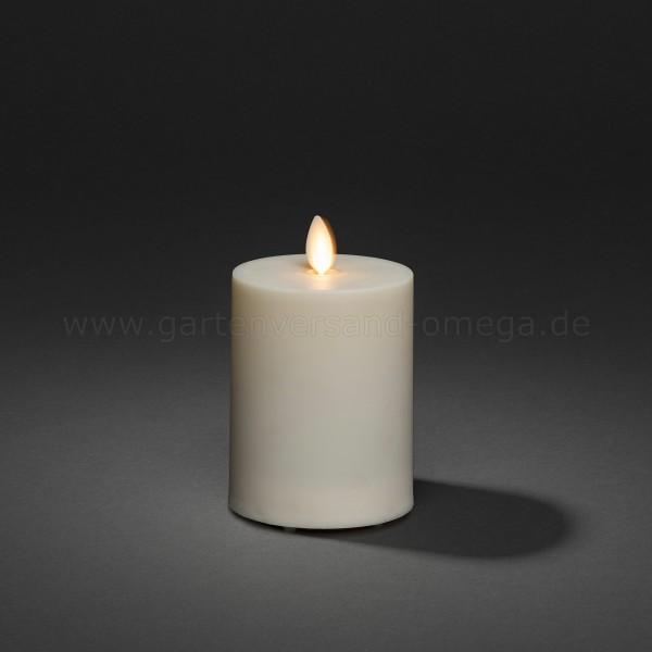 LED-Kerze für Außen Cremeweiß mit 3D Flamme 13cm