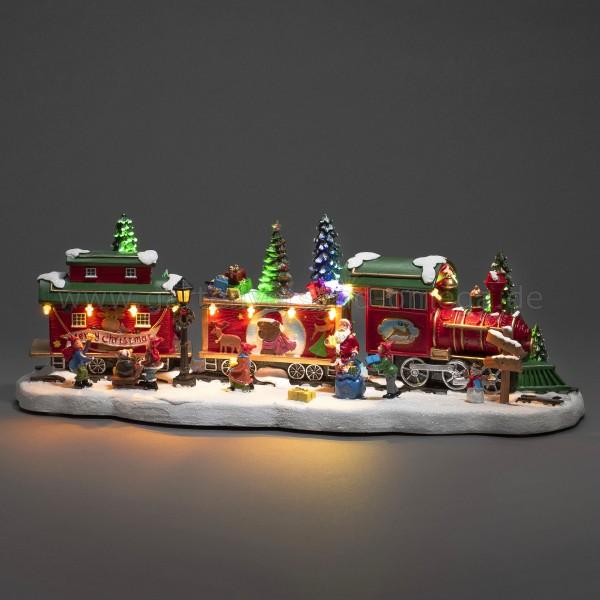LED-Szenerie Zug mit Waggons und rotierendem Weihnachtsbaum