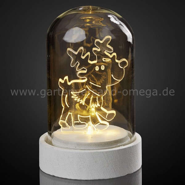 LED-Glasglocke mit Acryl-Rentier