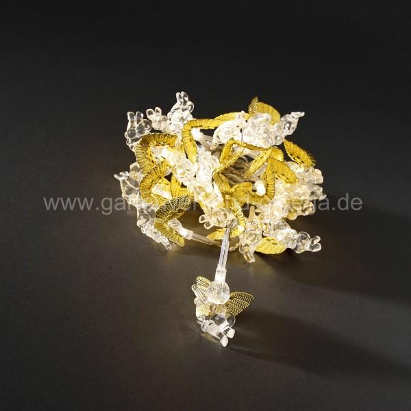 LED-Dekolichterkette mit goldfarbenen Engeln
