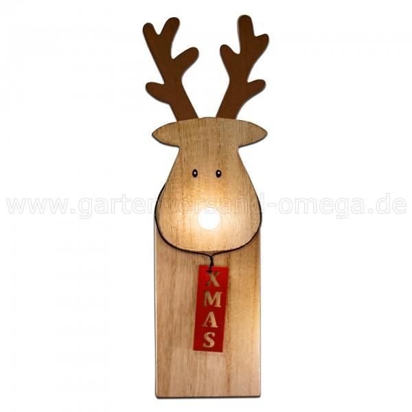 LED Holz-Rentier mit leuchtender Nase 25cm - Deko-Rentier / Holzfigur beleuchtet