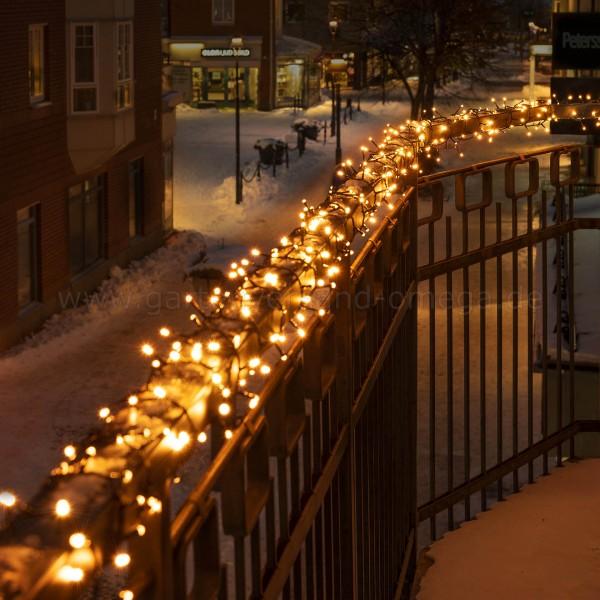 LED Compactlights-Lichterkette für Außen Bernsteinfarben