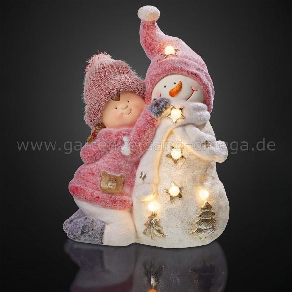 LED Dekofigur Mädchen mit Schneemann