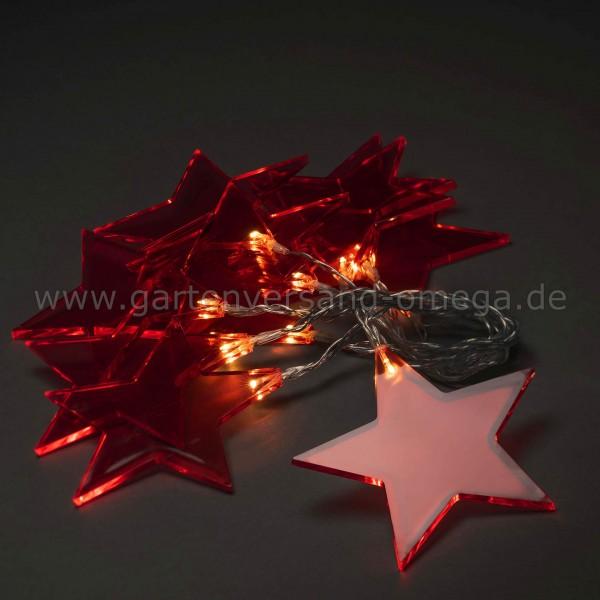LED Dekolichterkette Plexiglassterne Rot