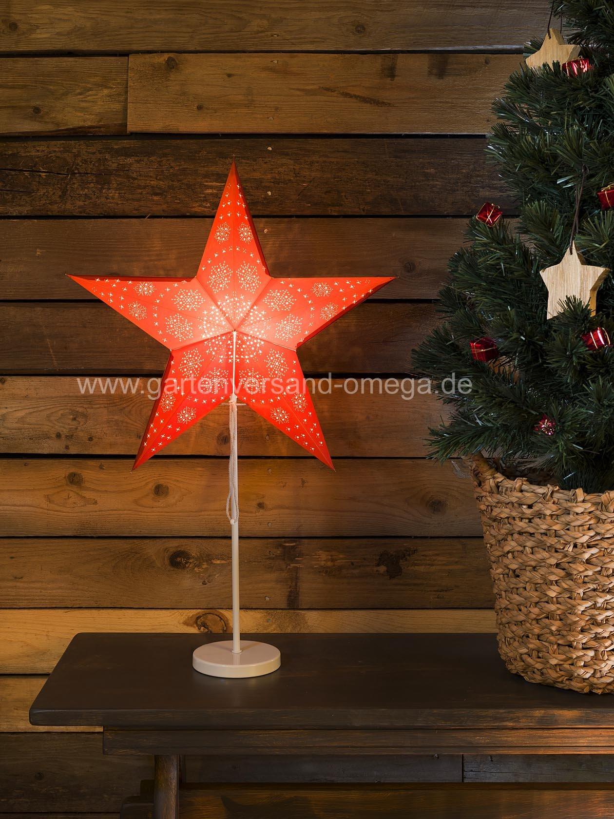 beleuchteter papierstern rot mit metallfu papierstern. Black Bedroom Furniture Sets. Home Design Ideas