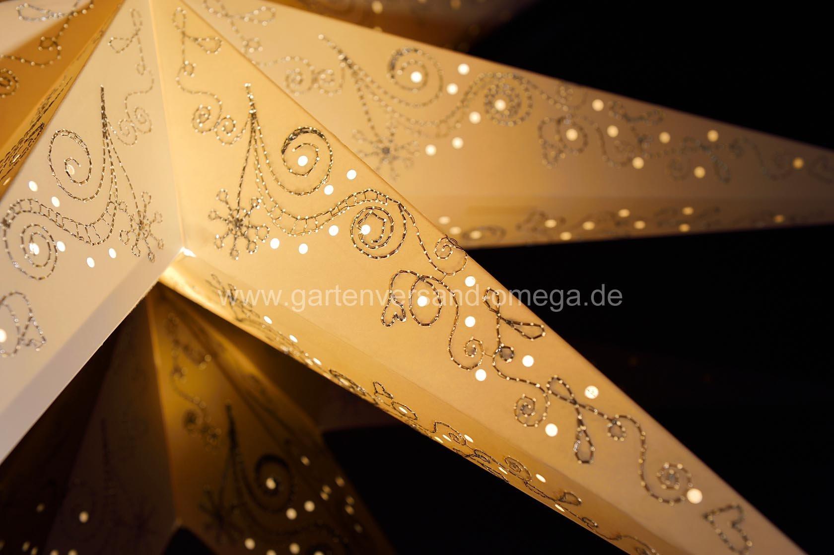 beleuchteter papierstern wei perforiert beleuchteter papierstern leuchtender stern stern. Black Bedroom Furniture Sets. Home Design Ideas