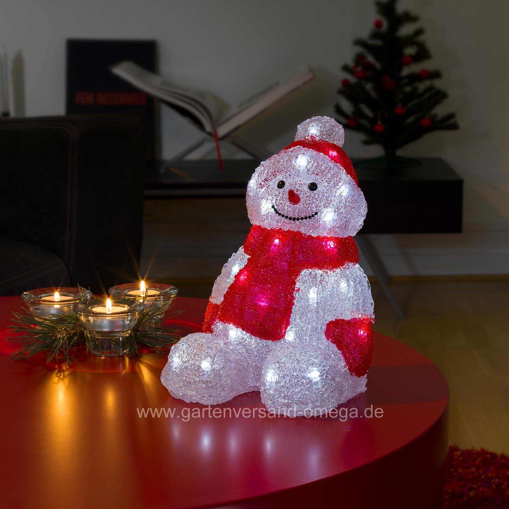 led acryl schneemann sitzend acrylschneemann acrylfigur. Black Bedroom Furniture Sets. Home Design Ideas