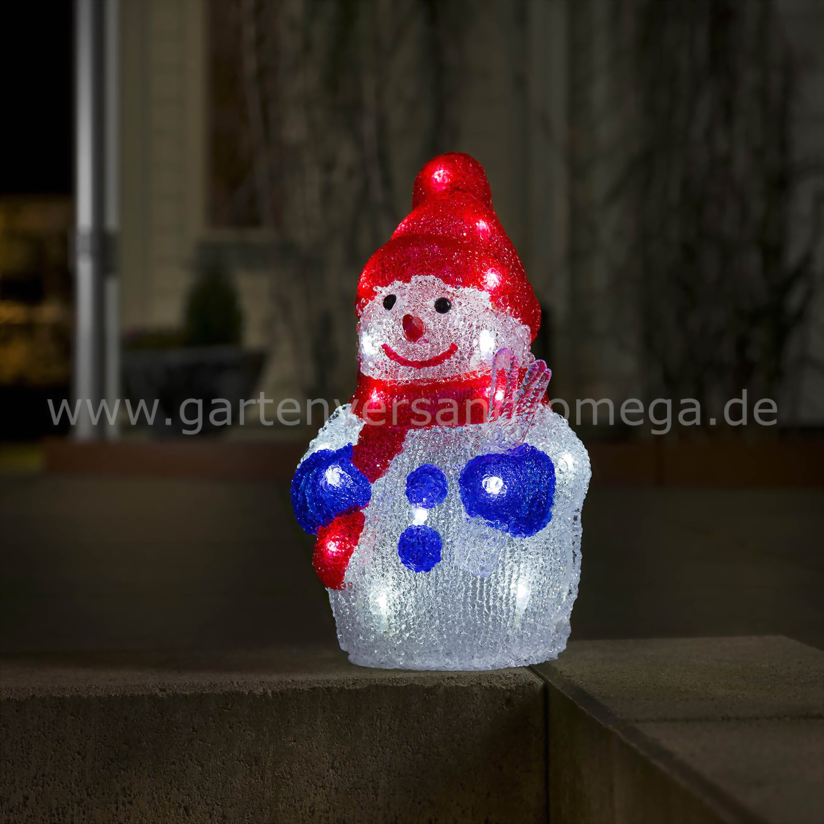 batteriebetriebene led acrylfigur schneemann weihnachtsau enbeleuchtung mit batterie led. Black Bedroom Furniture Sets. Home Design Ideas