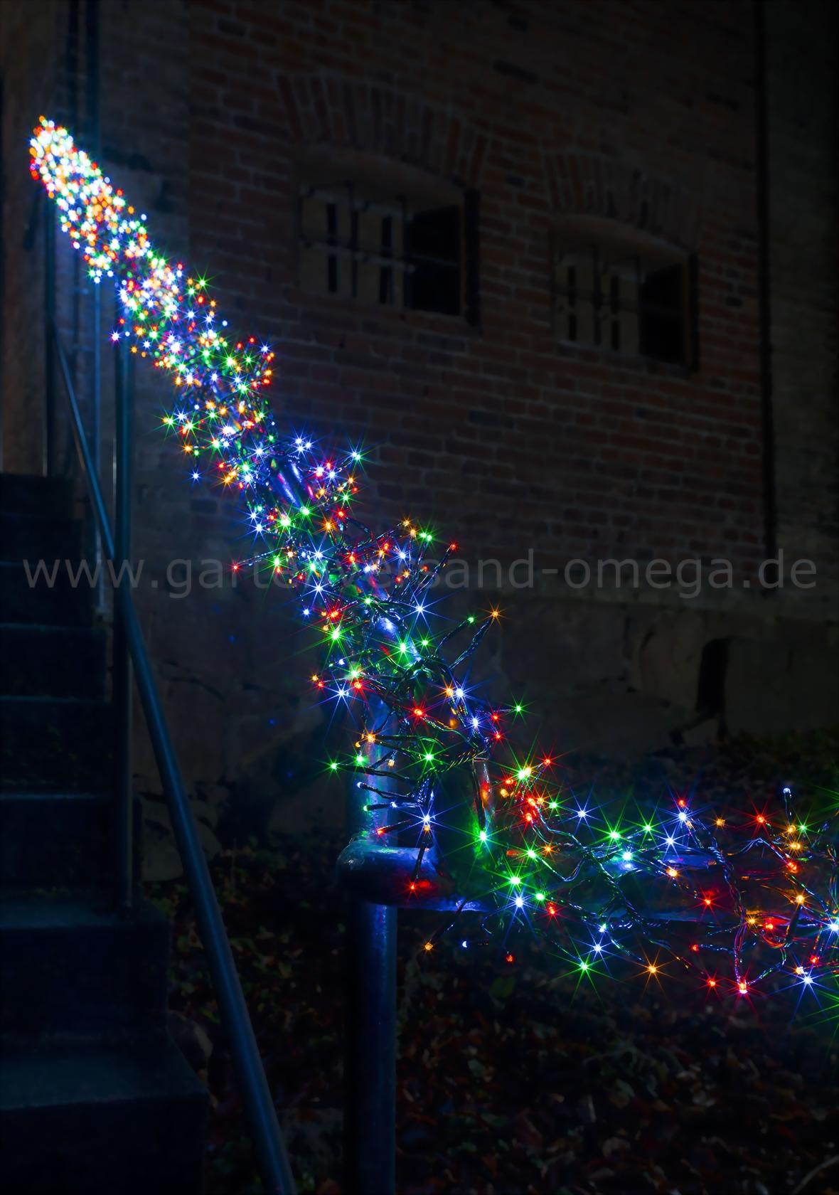 mikro led cluster lichterkette bunt b schellichterkette mit vielen bunten leds und 8. Black Bedroom Furniture Sets. Home Design Ideas