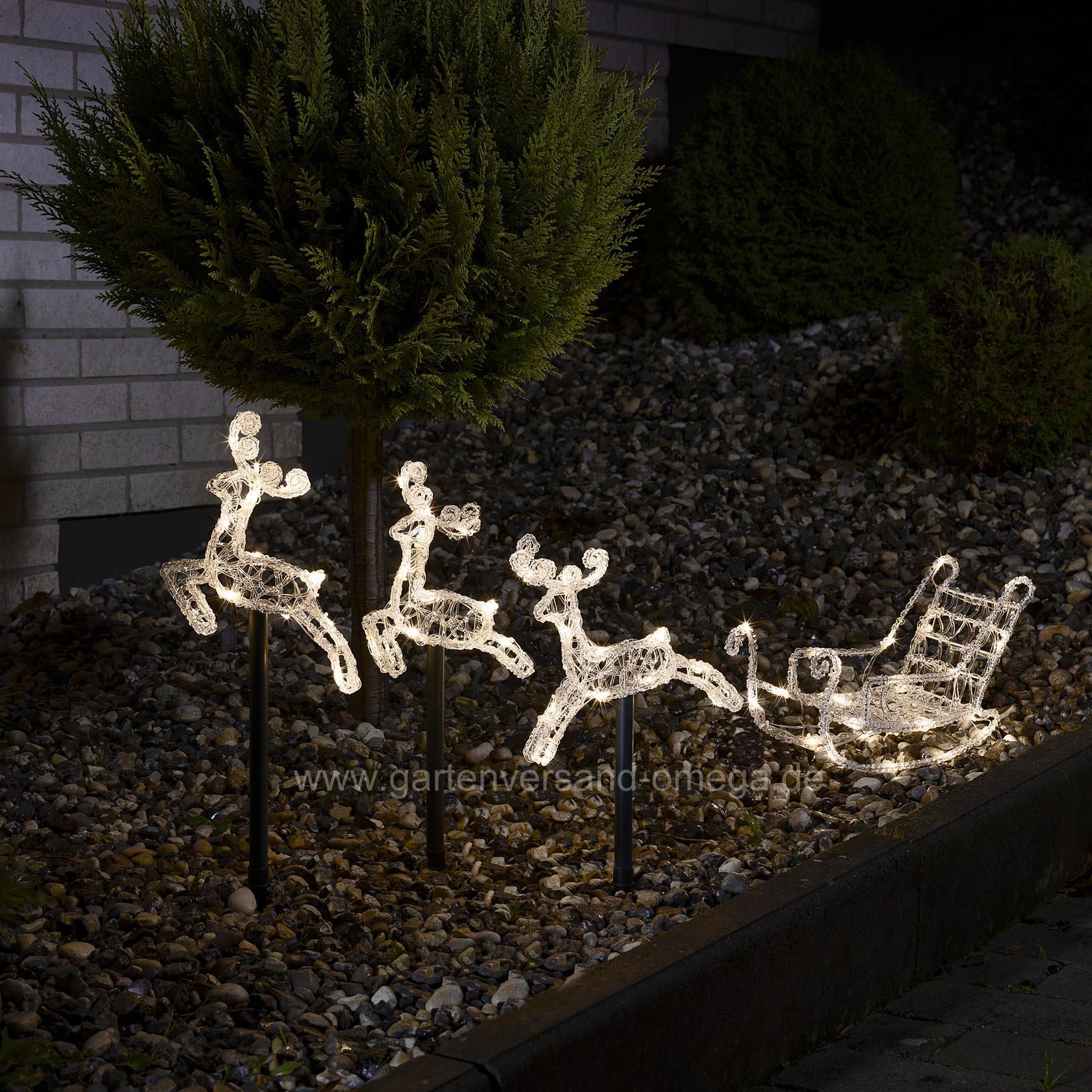 led acryl set schlitten mit rentieren leuchtstabe set With französischer balkon mit weihnachtsbeleuchtung für den garten