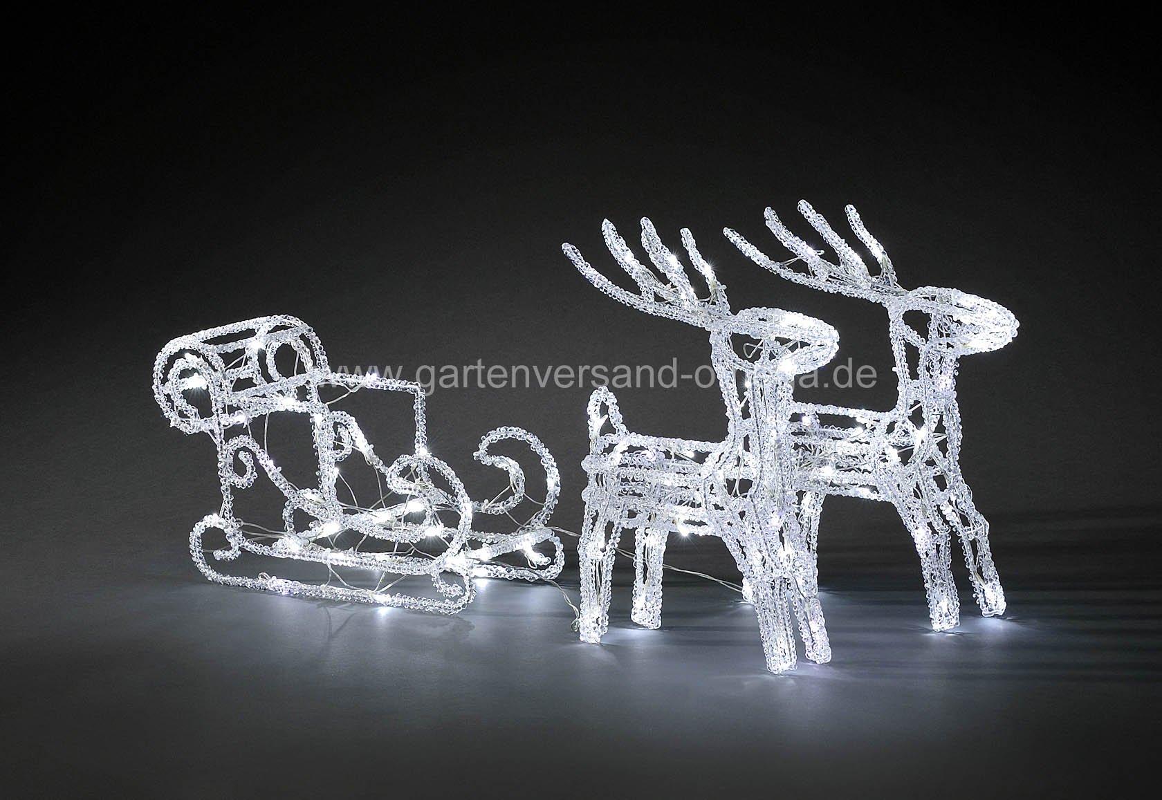 led weihnachtsbeleuchtung rentiere mit schlitten acrylfiguren schlittengespann. Black Bedroom Furniture Sets. Home Design Ideas