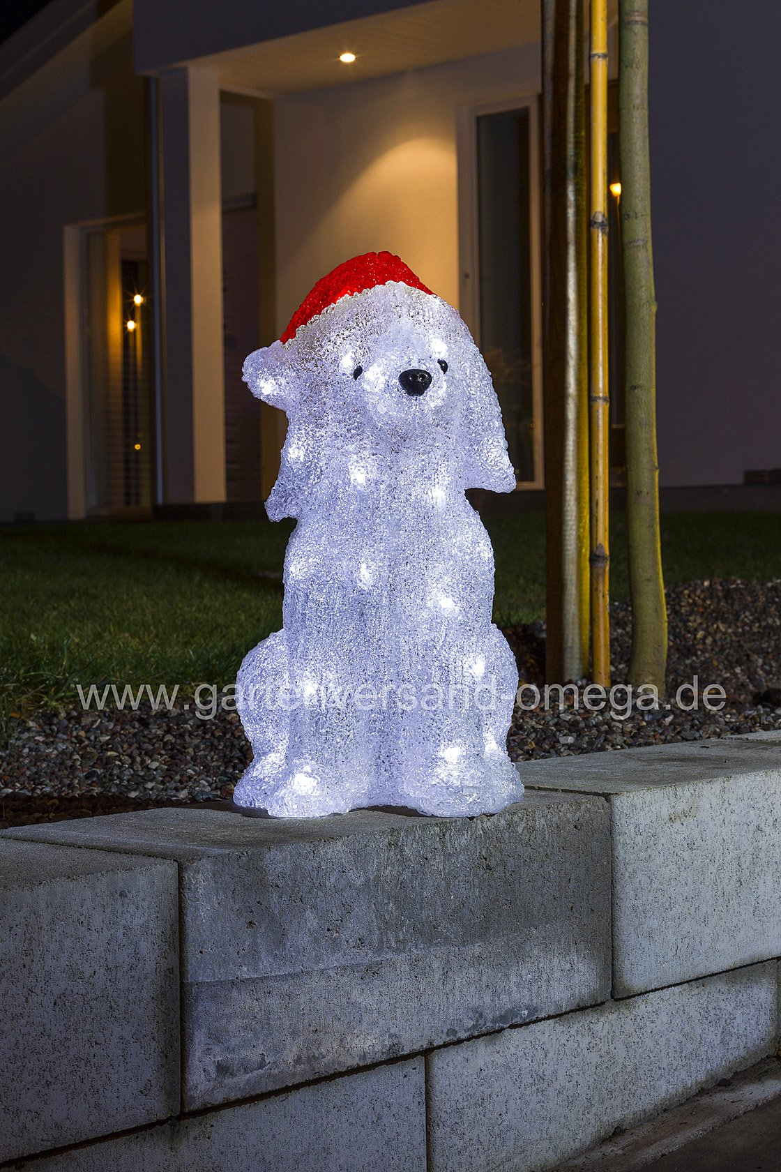 led weihnachtsau enfigur hund mit m tze beleuchtete. Black Bedroom Furniture Sets. Home Design Ideas
