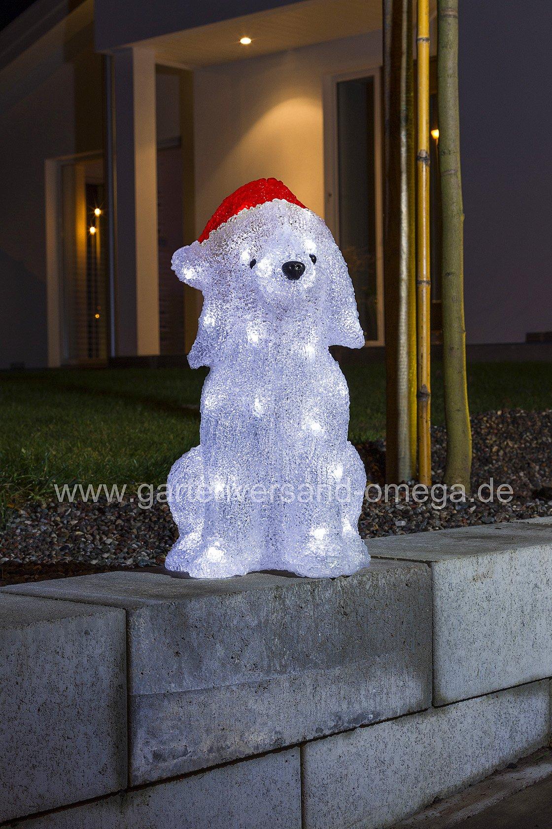 led weihnachtsau enfigur hund mit m tze beleuchtete weihnachtsdekoration f r drau en. Black Bedroom Furniture Sets. Home Design Ideas